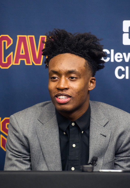 . Cleveland Cavaliers first round draft selection, Collin Sexton, answers a question during a news conference at the NBA basketball team\'s training facility in Independence, Ohio, Friday, June 22, 2018.  (AP Photo/Phil Long)