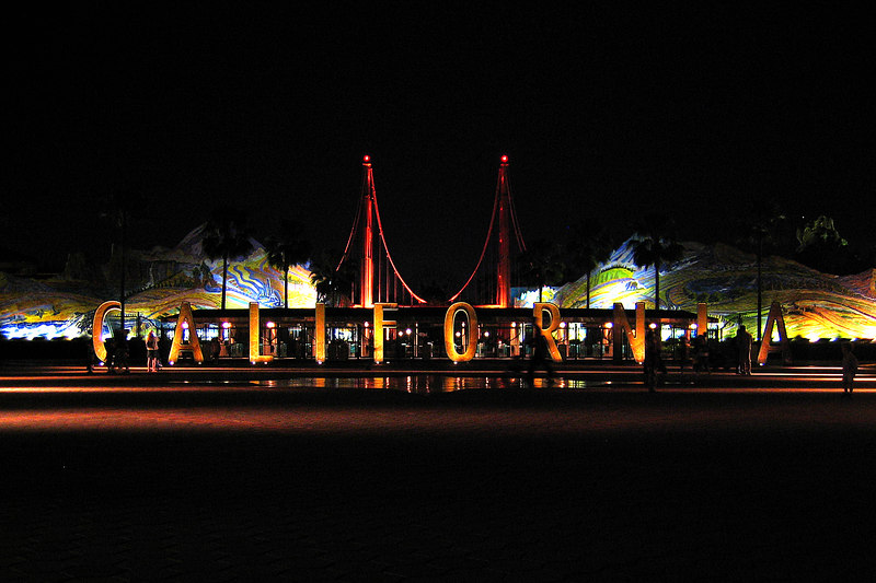 Photo of the entryway to Disney's California Adventure taken after hours