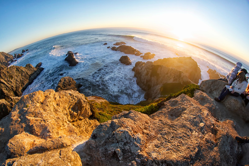 Sunset begins along the California Coast