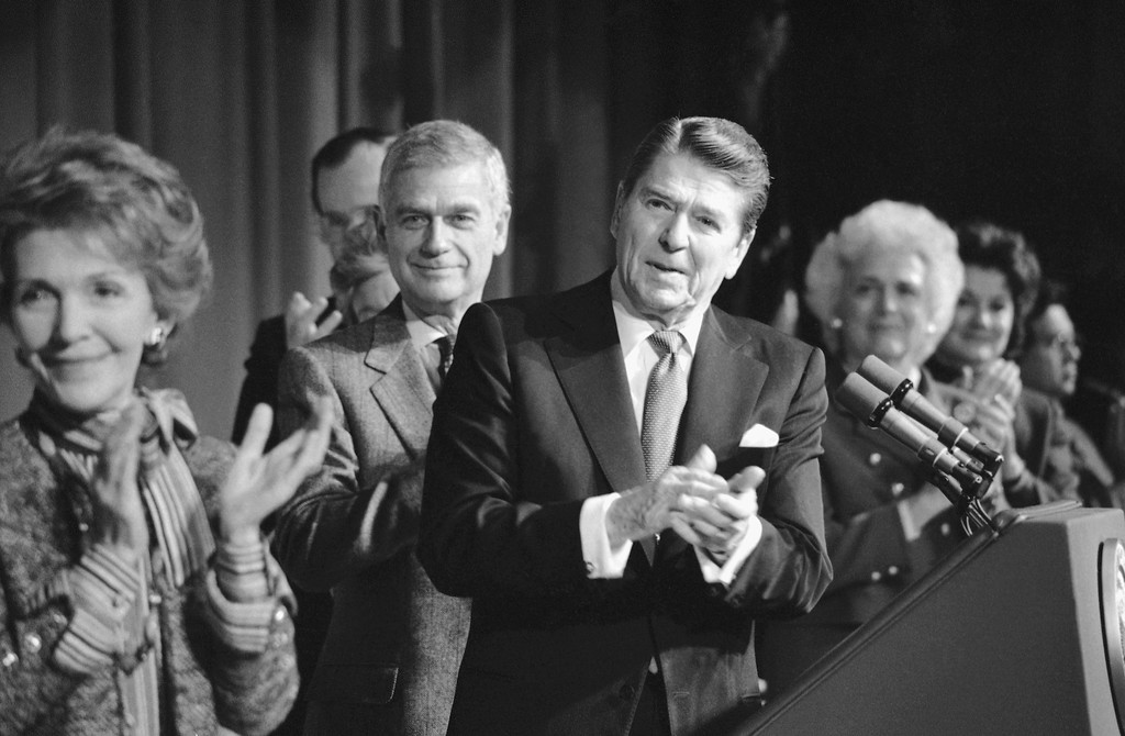 . President Ronald Reagan and first lady Nancy Reagan, along with Sen. Mark Hatfield (R-Nev.) applaud the presence of former Sen. Jacob Javits of N.Y. who was present at the National Prayer Breakfast, Feb. 2, 1984 in Washington. Javits has been ill for some times. (AP Photo)