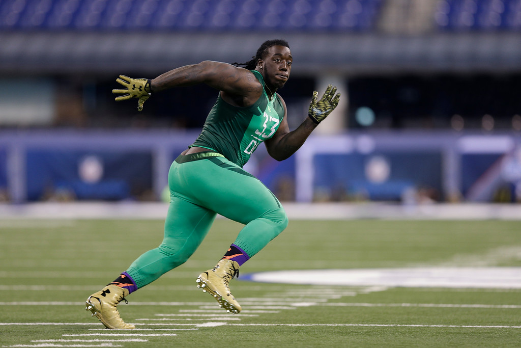 . Southern Mississippi defensive lineman Rakeem Nunez-Roches runs a drill at the NFL football scouting combine in Indianapolis, Sunday, Feb. 22, 2015. (AP Photo/David J. Phillip)