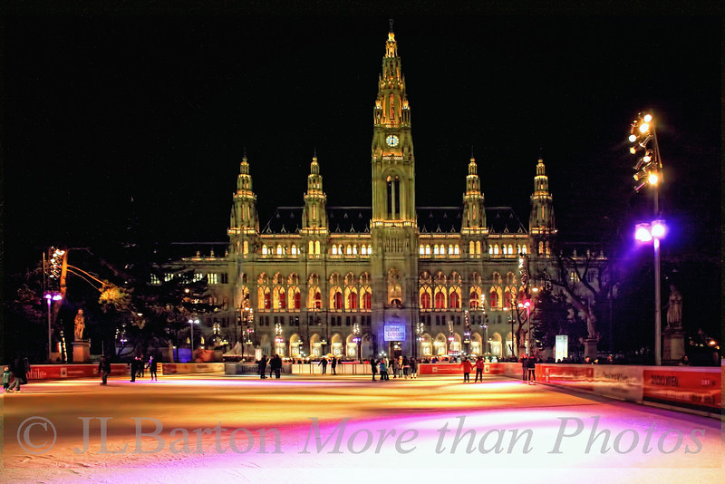 What a backdrop 2011-01-28  Another shot of the ice skating rink in front of the City Hall in Vienna.  This time on Wednesday evening - not as busy as on Sunday.  The neo-baroque Rathaus (constructed at the end of the 19th century) provides the backdrop.  Many thanks for your kind comments on the shot of the fountain at Schönbrunn!