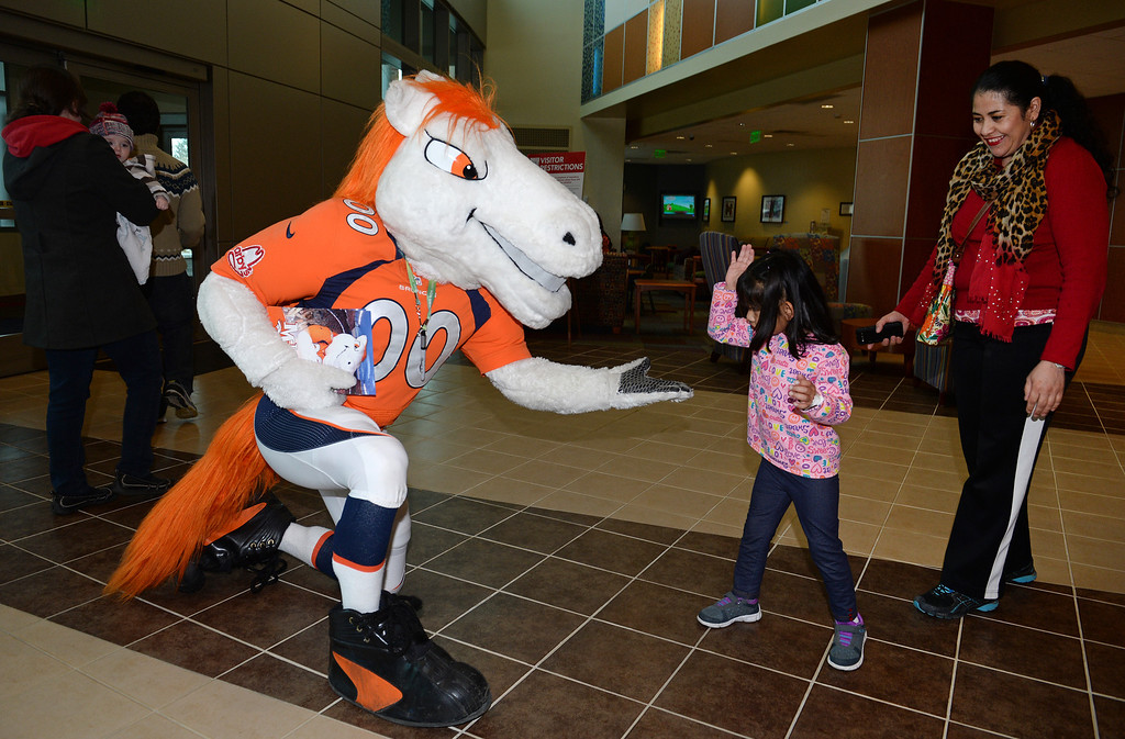 . Miles, the Broncos Mascot,  gives a low five to Diana Hernandez, 5, in the lobby of Rocky Mountain Hospital for Children in Denver, Co on January 14, 2014 while her aunt Elizabeth Hernandez, left, looks on.  (Photo By Helen H. Richardson/ The Denver Post)