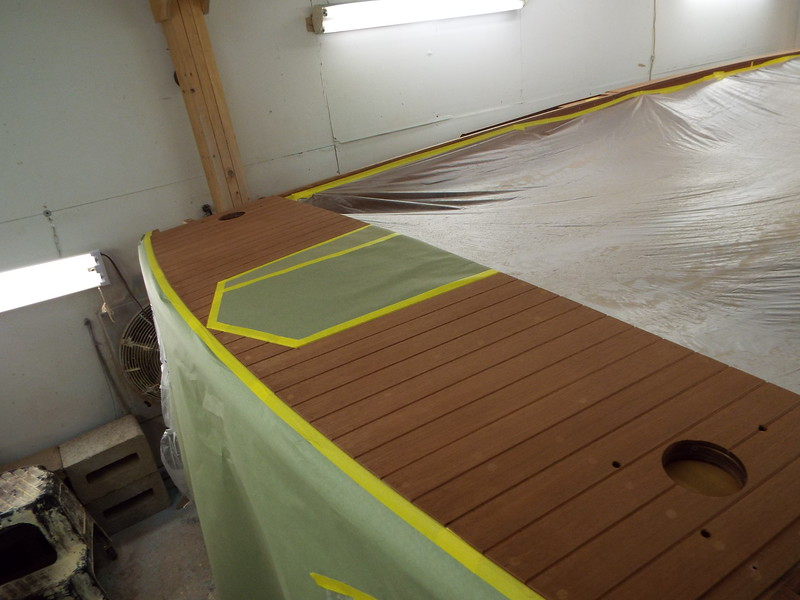 Rear king plank masked so the rear deck can be stained.