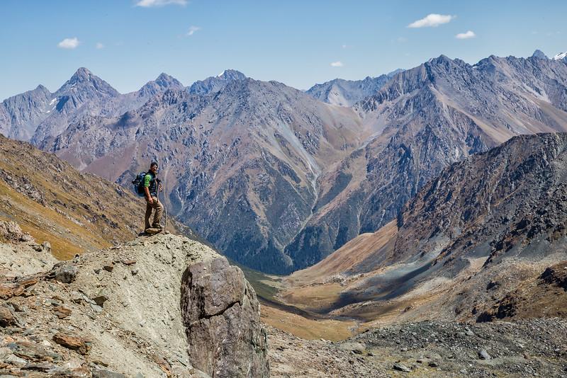 David Stock hiking in Kyrgyzstan