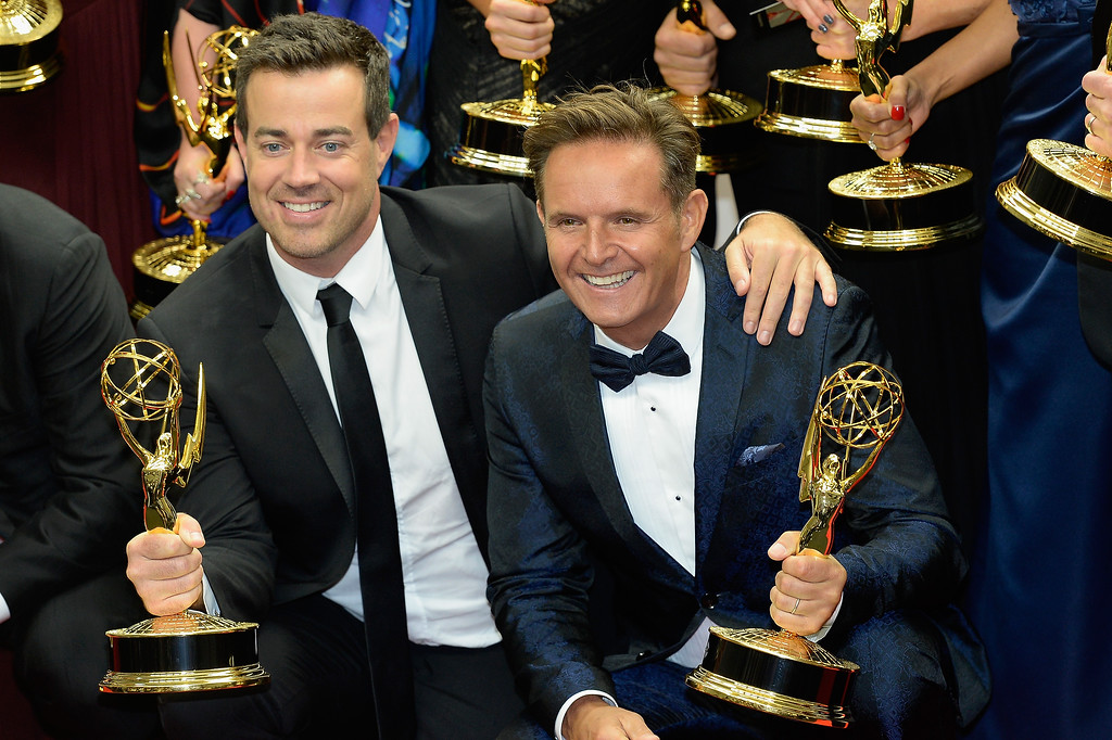 . Producer Carson Daly (L) and Executive Producer Mark Burnett, winners of the Outstanding Reality - Competition Program Award for \'The Voice,\' pose in the press room during the 65th Annual Primetime Emmy Awards held at Nokia Theatre L.A. Live on September 22, 2013 in Los Angeles, California.  (Photo by Kevork Djansezian/Getty Images)