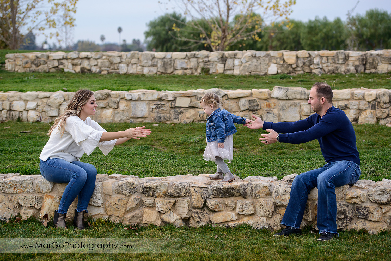 little girl in white dress and jeans jacket walking on the stone wall from father wearing navy blue sweater to mother in white blouse during family session at San Jose Martial Cottle Park