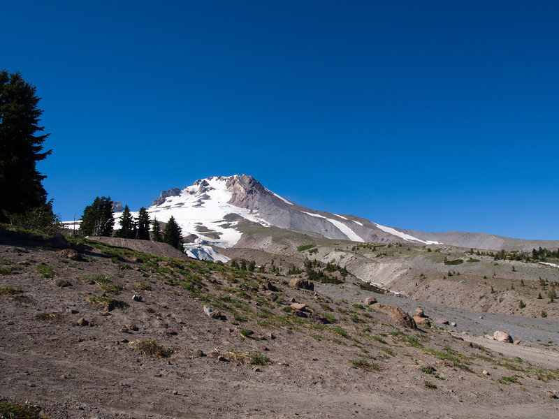 The view of the top of Mt Hood from Timberline Lodge