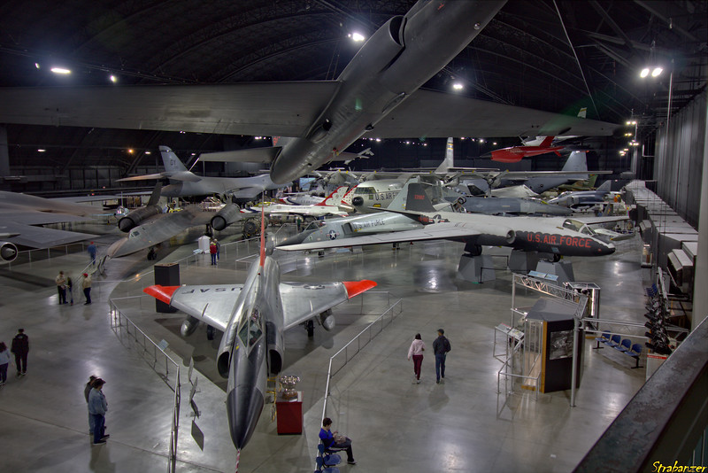 """National Museum of the United States Air Force, Dayton, Ohio,   04/13/2019  Overview of the """"Cold War"""" gallery    Convair F-102A Delta Dagger  c/n 8-10-363   56-1416    Martin EB-57D Canberra c/n 006  53-3982.    Lockheed SR-71A Blackbird c/n  2027  61-7976     Lockheed U-2A c/n 389   56-6722  This work is licensed under a Creative Commons Attribution- NonCommercial 4.0 International License."""