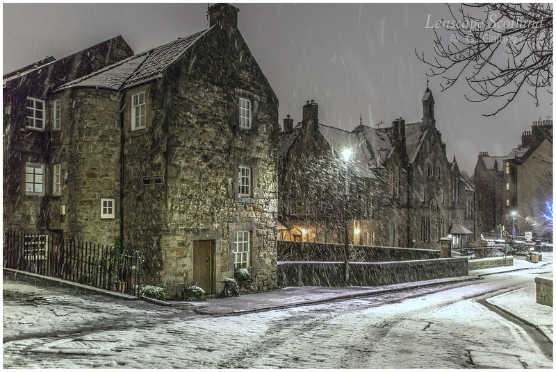 Dean Village in the snow, at night (6)