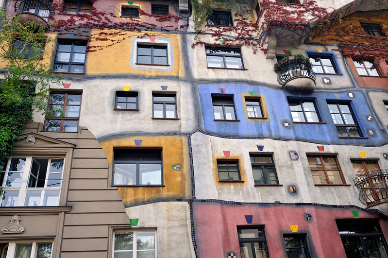 Detail of Colorful Facade of Hundertwasser House (Hundertwasserhaus), Apartment Building in Vienna (Wien), Austria, Designed Architect and Artist Friedensreich Hundertwasser