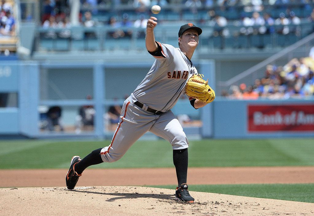 . San Francisco Giants starting pitcher Matt Cain throws to the plate against the Los Angeles Dodgers in the first inning of a Major league baseball game on Saturday, May 10, 2013 in Los Angeles.   (Keith Birmingham/Pasadena Star-News)