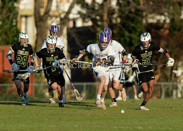 Broughton boys varsity lacrosse vs Enloe. March 10, 2020. D4S_8191