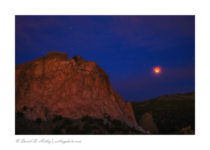 Super, blue, blood (eclipse) moon, Garden of the Gods, CO