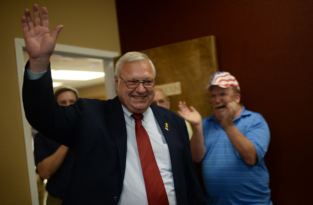 . COLORADO SPRINGS, CO - September 10 : Bernie Herpin of Senate district 11, celebrates winning the campaign at Colorado El Paso County Republican Party Headquarters. Colorado Springs, Colorado. September 10, 2013. (Photo by Hyoung Chang/The Denver Post)