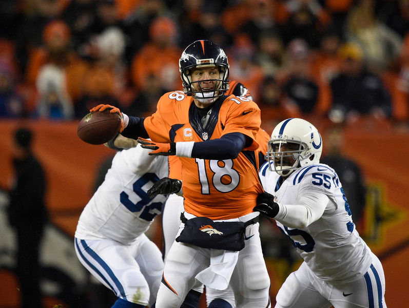 . Peyton Manning (18) of the Denver Broncos throws under pressure in the fourth quarter. The Denver Broncos played the Indianapolis Colts in an AFC divisional playoff game at Sports Authority Field at Mile High in Denver on January 11, 2015. (Photo by John Leyba/The Denver Post)