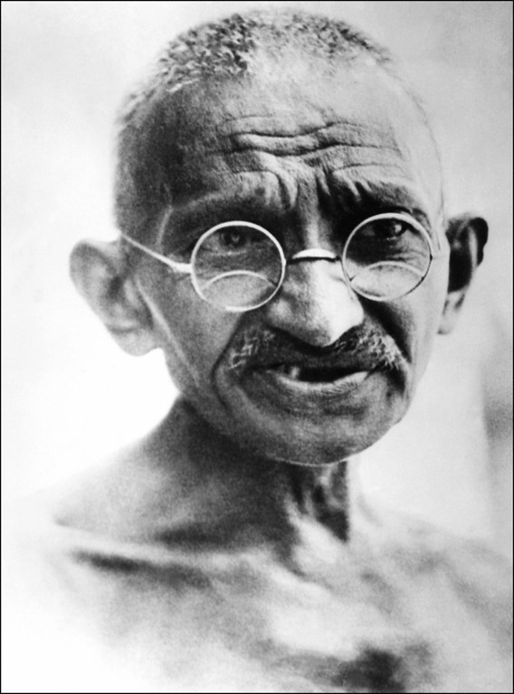 . In this picture taken on July 24, 1931, Mahatma Gandhi speaks in New Delhi.   STR/AFP/Getty Images