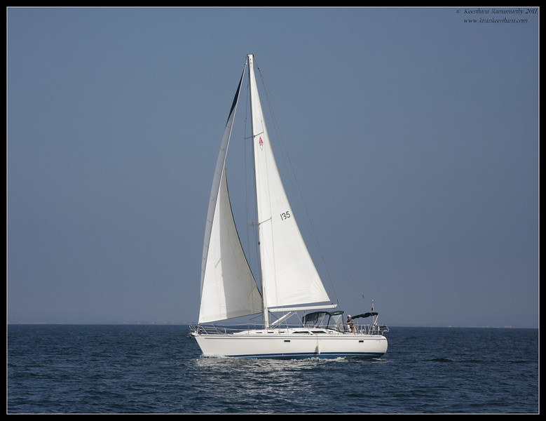 Sailboat on the Pacific ocean, Whale Watching trip on 'America' sail boat, September 2011