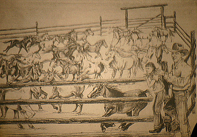 "To help tell her story, Claudia Little relied upon impressive sketches done by Sharon Follette Grey of Spearfish.  This one depicts Claudia and her dad watching a corral full of mustangs.  Once a student in Mrs. Little's 3rd Grade class in Spearfish, Sharon ""doodled every chance she got,"" according to her former teacher.  The sketches shown were included in Claudia Little's first book, ""Patches."""