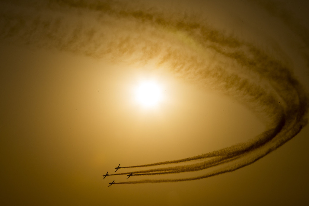 . Efroni T-6 Texan II planes perform in an air show during the graduation ceremony of Israeli air force pilots at the Hatzerim base in the Negev desert, near the southern Israeli city of Beersheva on December 26, 2013. AFP PHOTO/JACK GUEZ/AFP/Getty Images