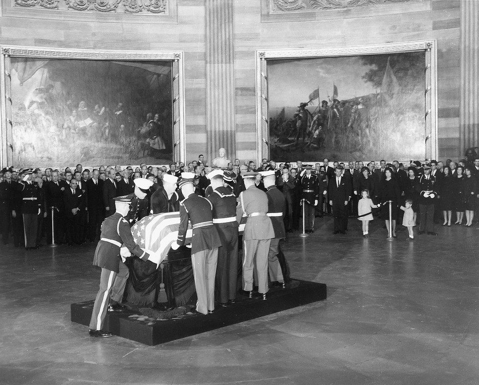 . Kennedy\'s body is placed in the Capitol rotunda. John F. Kennedy Presidential Library and Museum