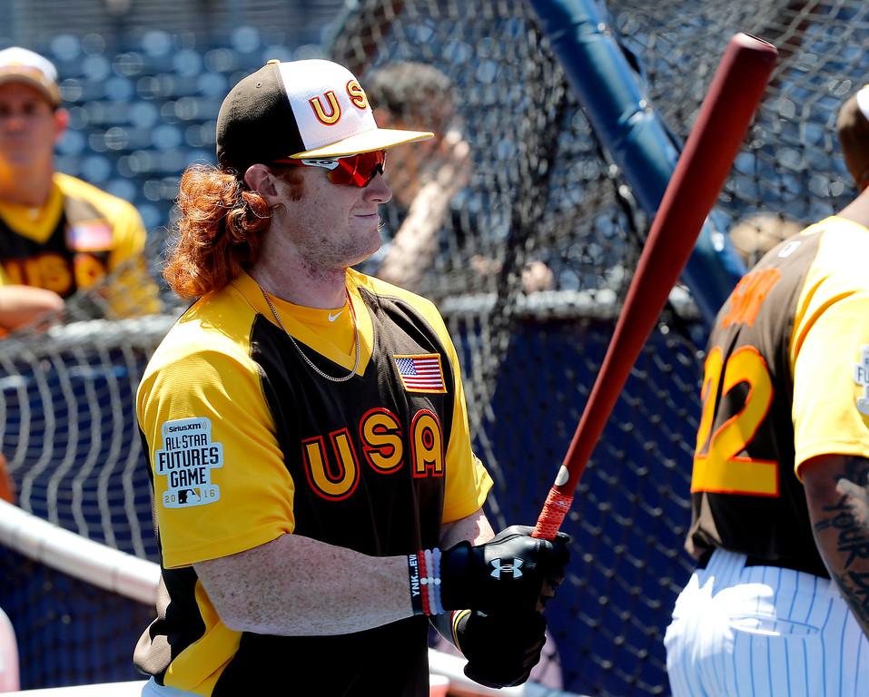 . U.S Team\'s Clint Frazier, of the Cleveland Indians, prepares to hit prior to the All-Star Futures baseball game against the Word team, Sunday, July 10, 2016, in San Diego. (AP Photo/Lenny Ignelzi)