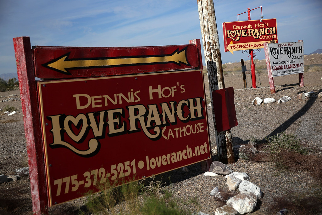 . Signs for the Dennis Hof\'s Love Ranch is seen October 14, 2015 in Crystal, Nevada. Former NBA player Lamar Odom was found unconscious during a visit at the brothel and has been hospitalized at Sunrise Hospital and Medical Center in Las Vegas.  (Photo by Alex Wong/Getty Images)