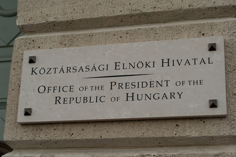 Sign outside the office of the President in Budapest, Hungary