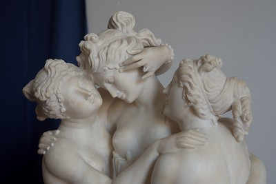 19th Century (Neoclassic) Alebaster Statue of Three Graces (after Antonio Canova)