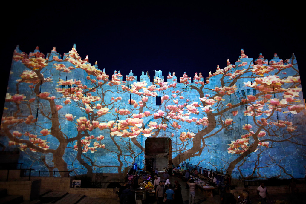 """. People stand near Damascus gate outside Jerusalem\'s Old City as it is projected with images during the \""""Jerusalem Light 2013\"""" Festival June 5, 2013. The festival opened on Wednesday night and will run for a week in the Old City of Jerusalem, hosting Israeli and international artists who will display their installations throughout the week. REUTERS/Ammar Awad"""