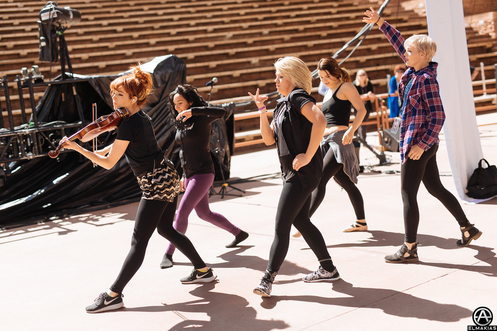 Lindsey Stirling and dancers at the Red Rocks Amphitheater for soundcheck by Adam Elmakias