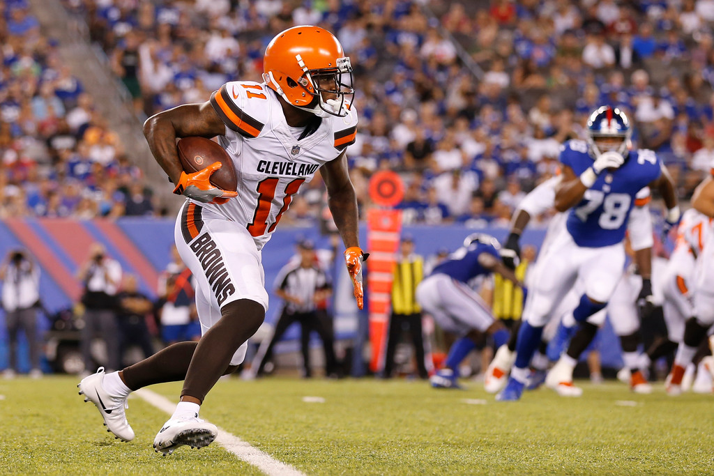 . Cleveland Browns wide receiver Antonio Callaway (11) runs after making a catch during the second half of a preseason NFL football game against the New York Giants Thursday, Aug. 9, 2018, in East Rutherford, N.J. (AP Photo/Adam Hunger)