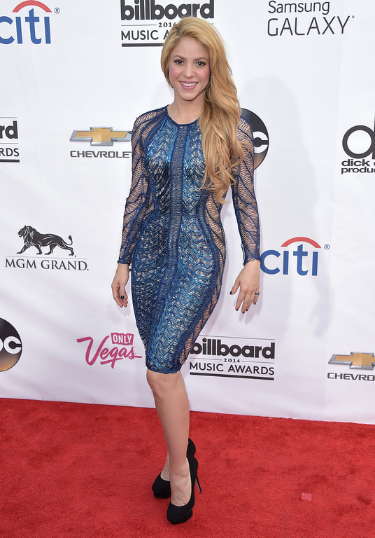 . Shakira arrives at the Billboard Music Awards at the MGM Grand Garden Arena on Sunday, May 18, 2014, in Las Vegas. (Photo by John Shearer/Invision/AP)