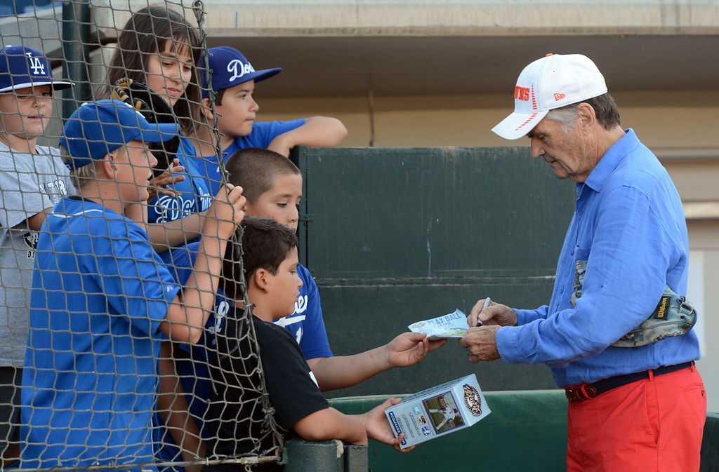 . Actor Fred Willard signs autographs before throwing out the first pitch at the Quakes game at LoanMart Field in Rancho Cucamonga, CA, Friday, August 15, 2014. (Photo by Jennifer Cappuccio Maher/Inland Valley Daily Bulletin)