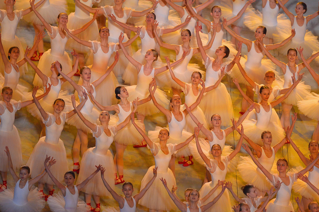 . Ballerinas dance during the Opening Ceremony of the Sochi 2014 Paralympic Winter Games at Fisht Olympic Stadium on March 7, 2014 in Sochi, Russia.  (Photo by Dennis Grombkowski/Getty Images)