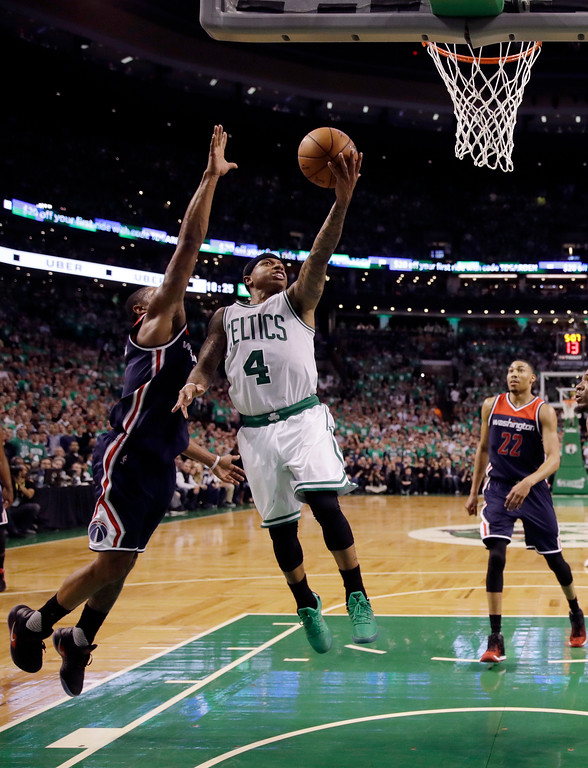 . Boston Celtics guard Isaiah Thomas (4) drives to the basket against the Washington Wizards during the fourth quarter of Game 7 of a second-round NBA basketball playoff series, Monday, May 15, 2017, in Boston. (AP Photo/Charles Krupa)