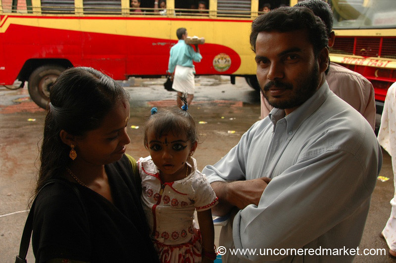 Family at the Bus Station: Alleppey, India