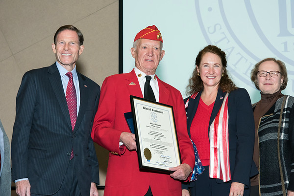 11/12/18 Wesley Bunnell | Staff CCSU held a Veterans Day Observance on Monday afternoon in Alumni Hall which featured honoring three local veterans. Senator Richard Blumenthal, Honoree Jack Truhan, Congresswoman Elizabeth Esty and State Senator Terry Gerratana.