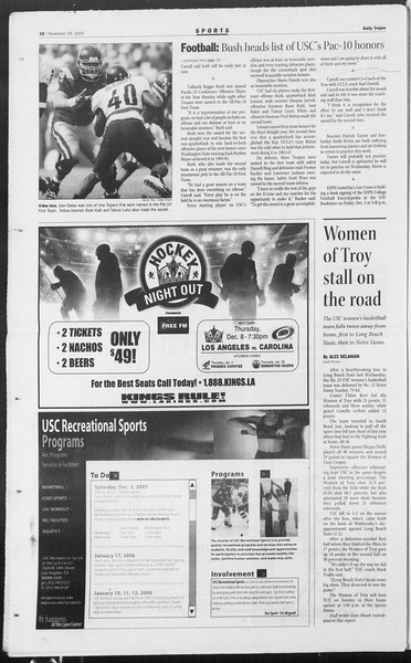 Daily Trojan, Vol. 156, No. 65, November 29, 2005