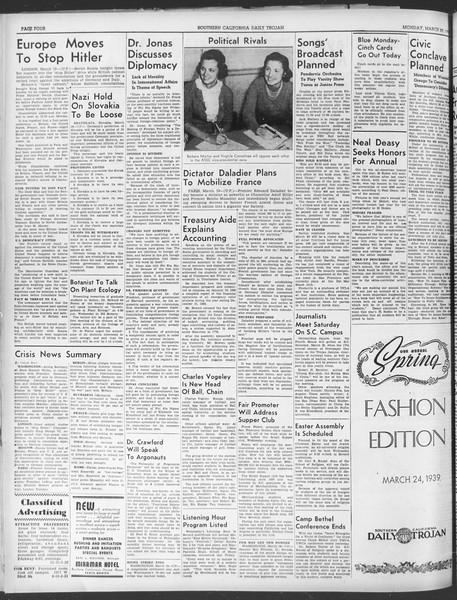 Daily Trojan, Vol. 30, No. 101, March 20, 1939