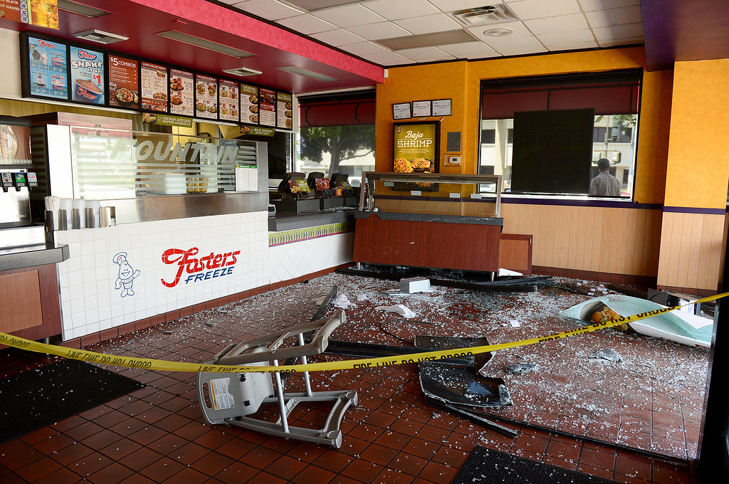 . El Pollo Loco with a Fosters Freeze on Valley Mall in El Monte is closed Wednesday morning, May 15, 2013 after a vehicle crashed through a window following a collision at Santa Anita Boulevard. (SGVN/Staff Photo by Sarah Reingewirtz)