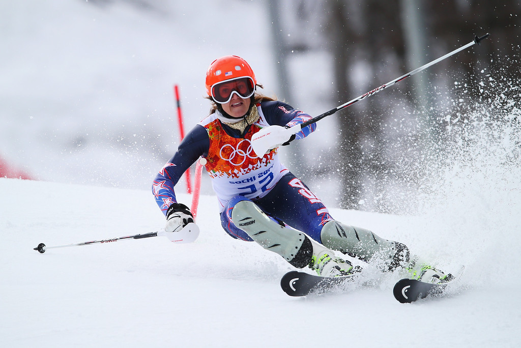 . Julia Mancuso of the United States in action during the Alpine Skiing Women\'s Super Combined Slalom on day 3 of the Sochi 2014 Winter Olympics at Rosa Khutor Alpine Center on February 10, 2014 in Sochi, Russia.  (Photo by Clive Rose/Getty Images)