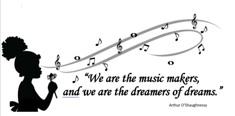 (B22) Blowing Music Notes - O'Shaughnessy Quote