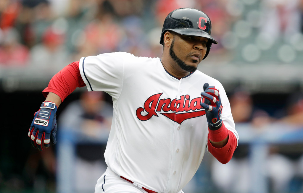 . Cleveland Indians\' Edwin Encarnacion runs out a two-run double in the sixth inning of a baseball game against the Chicago White Sox, Wednesday, June 20, 2018, in Cleveland. Rajai Davis and Francisco Lindor scored on the play. (AP Photo/Tony Dejak)