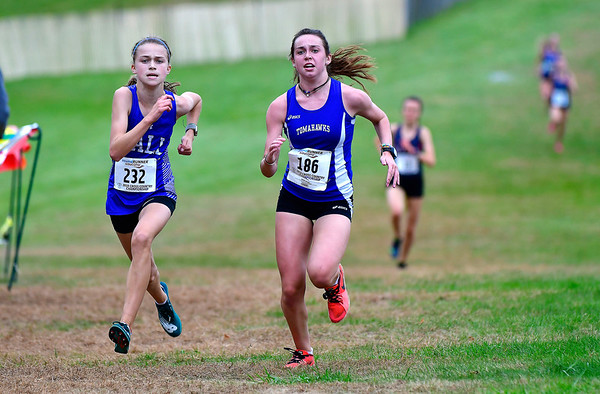 10/16/2019 Mike Orazzi | StaffrHall High School's Katherine Sanderson and Glastonbury's Casey MacElhiney during the girls CCC XC Championship held at Wickham Park in Manchester on Wednesday.