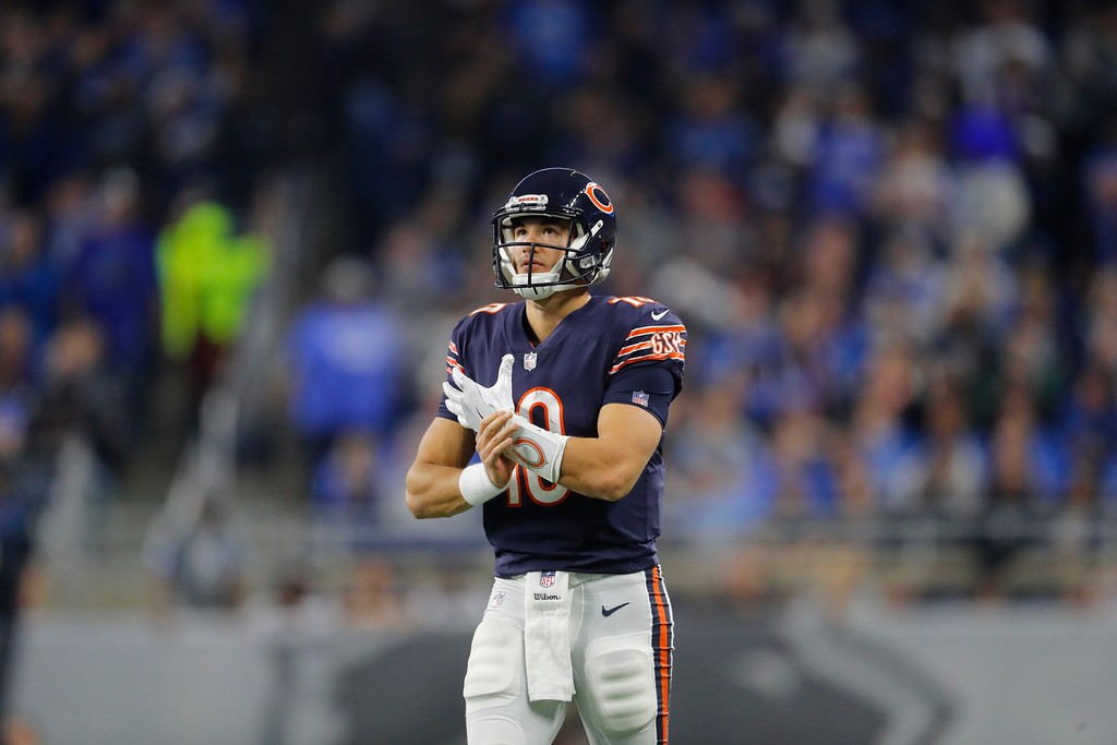 . Chicago Bears quarterback Mitchell Trubisky (10) looks towards the scoreboard during the first half of an NFL football game against the Detroit Lions, Saturday, Dec. 16, 2017, in Detroit. (AP Photo/Paul Sancya)