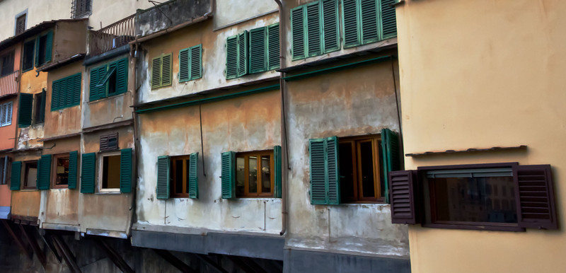 Windows on the Ponte Vecchio, bridge in Florence.
