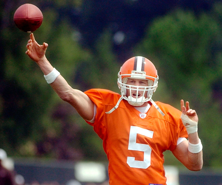 . News-Herald file Browns quarterback Jeff Garcia practices his throws during a workout in Berea on Friday.