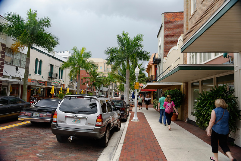 Walking Along First St. - Downtown - Ft. Myers, Florida