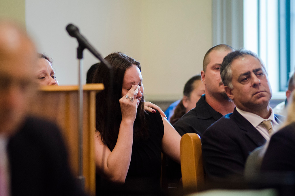 . At Leominster District Court on Wednesday, September 20, 2017, 22-year-old Conner Hartman pleaded guilty to leaving the scene of a personal-injury accident in connection to Frankie Fortuna\'s 2015 death. Hartman will serve 18 months probation, 100 hours of community service and will continue to have his license suspended through at least February. Tabitha Cardona, Frankie\'s sister, gets emotional as her mother, Marie, reads a victim impact statement during the arraignment. SENTINEL & ENTERPRISE / Ashley Green